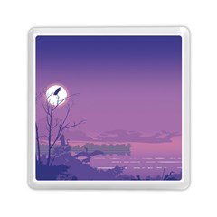 Abstract Tropical Birds Purple Sunset  Memory Card Reader (square)