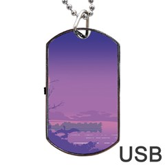 Abstract Tropical Birds Purple Sunset  Dog Tag Usb Flash (one Side)