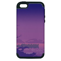 Abstract Tropical Birds Purple Sunset  Apple Iphone 5 Hardshell Case (pc+silicone)