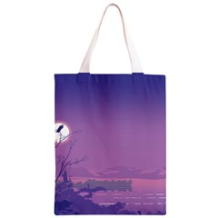 Abstract Tropical Birds Purple Sunset  Classic Light Tote Bag