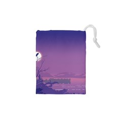 Abstract Tropical Birds Purple Sunset  Drawstring Pouches (XS)