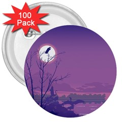 Abstract Tropical Birds Purple Sunset 3  Buttons (100 Pack)