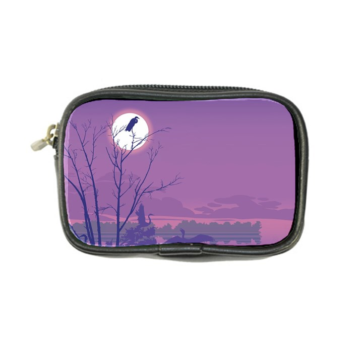 Abstract Tropical Birds Purple Sunset Coin Purse