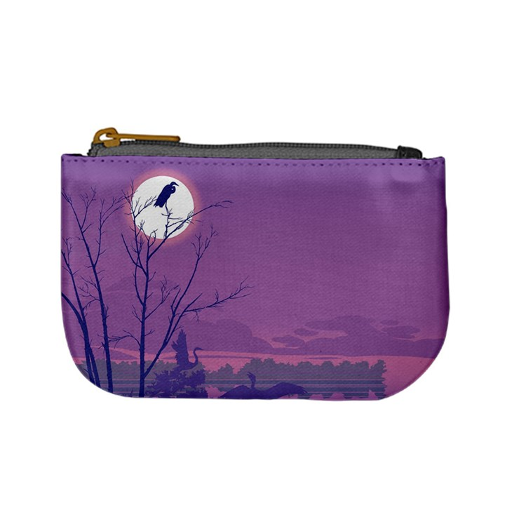 Abstract Tropical Birds Purple Sunset Mini Coin Purses