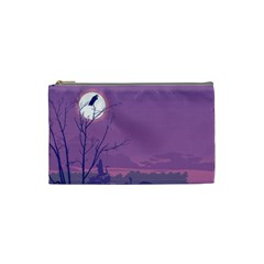 Abstract Tropical Birds Purple Sunset Cosmetic Bag (small)