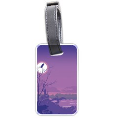 Abstract Tropical Birds Purple Sunset Luggage Tags (one Side)