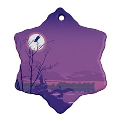 Abstract Tropical Birds Purple Sunset Snowflake Ornament (2 Side)