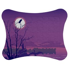 Abstract Tropical Birds Purple Sunset Jigsaw Puzzle Photo Stand (bow)