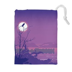Abstract Tropical Birds Purple Sunset Drawstring Pouches (Extra Large)