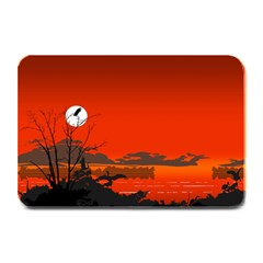 Tropical Birds Orange Sunset Landscape Plate Mats