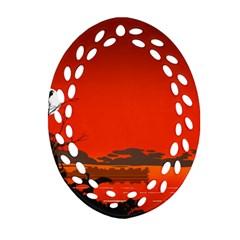 Tropical Birds Orange Sunset Landscape Oval Filigree Ornament (2 Side)