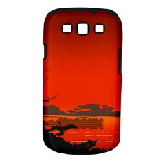 Tropical Birds Orange Sunset Landscape Samsung Galaxy S Iii Classic Hardshell Case (pc+silicone)
