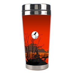 Tropical Birds Orange Sunset Landscape Stainless Steel Travel Tumblers
