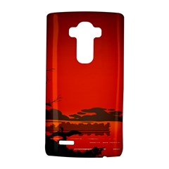 Tropical Birds Orange Sunset Landscape LG G4 Hardshell Case