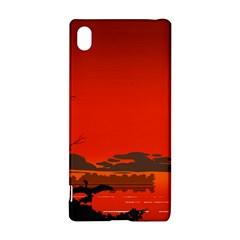 Tropical Birds Orange Sunset Landscape Sony Xperia Z3+