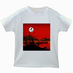 Tropical Birds Orange Sunset Landscape Kids White T Shirts