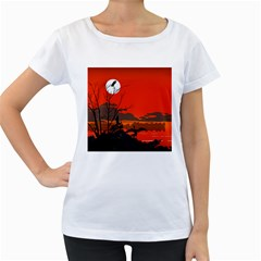 Tropical Birds Orange Sunset Landscape Women s Loose Fit T Shirt (white)