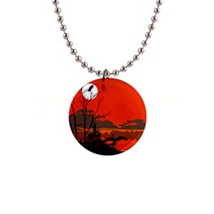 Tropical Birds Orange Sunset Landscape Button Necklaces
