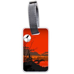 Tropical Birds Orange Sunset Landscape Luggage Tags (one Side)
