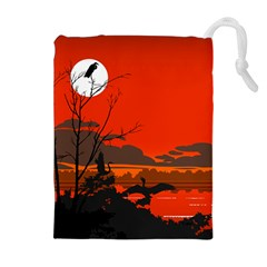 Tropical Birds Orange Sunset Landscape Drawstring Pouches (Extra Large)