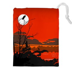 Tropical Birds Orange Sunset Landscape Drawstring Pouches (xxl)