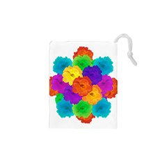 Flowes Collage Ornament Drawstring Pouches (XS)