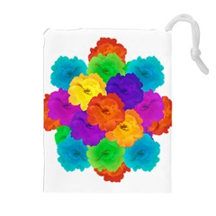 Flowes Collage Ornament Drawstring Pouches (Extra Large)