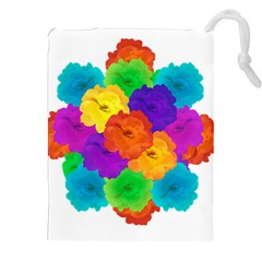 Flowes Collage Ornament Drawstring Pouches (XXL)