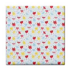 Seamless Colorful Flowers Pattern Tile Coasters