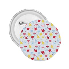 Seamless Colorful Flowers Pattern 2.25  Buttons