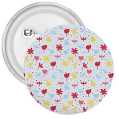 Seamless Colorful Flowers Pattern 3  Buttons