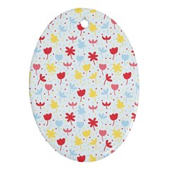Seamless Colorful Flowers Pattern Ornament (Oval)