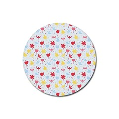 Seamless Colorful Flowers Pattern Rubber Round Coaster (4 pack)