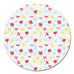 Seamless Colorful Flowers Pattern Magnet 5  (Round)