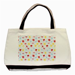Seamless Colorful Flowers Pattern Basic Tote Bag