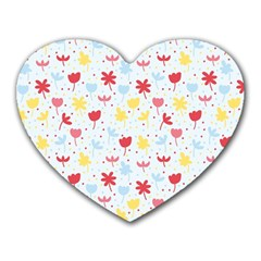 Seamless Colorful Flowers Pattern Heart Mousepads