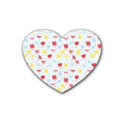 Seamless Colorful Flowers Pattern Rubber Coaster (Heart)