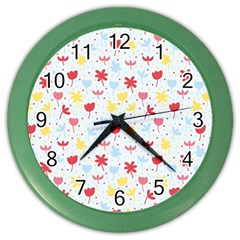 Seamless Colorful Flowers Pattern Color Wall Clocks