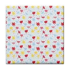 Seamless Colorful Flowers Pattern Face Towel