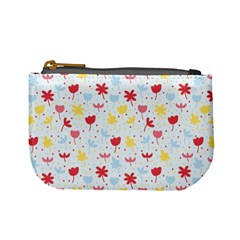 Seamless Colorful Flowers Pattern Mini Coin Purses