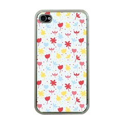 Seamless Colorful Flowers Pattern Apple iPhone 4 Case (Clear)