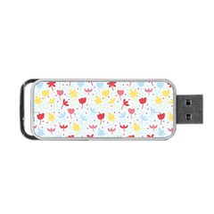 Seamless Colorful Flowers Pattern Portable USB Flash (One Side)