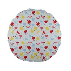 Seamless Colorful Flowers Pattern Standard 15  Premium Round Cushions