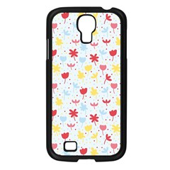 Seamless Colorful Flowers Pattern Samsung Galaxy S4 I9500/ I9505 Case (Black)