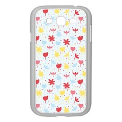 Seamless Colorful Flowers Pattern Samsung Galaxy Grand DUOS I9082 Case (White)