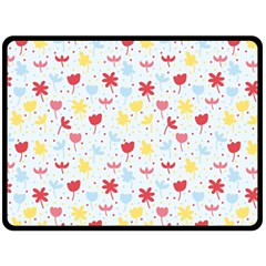 Seamless Colorful Flowers Pattern Double Sided Fleece Blanket (Large)