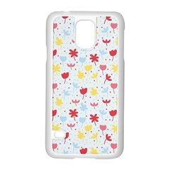 Seamless Colorful Flowers Pattern Samsung Galaxy S5 Case (White)