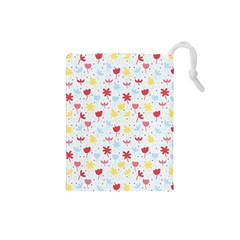 Seamless Colorful Flowers Pattern Drawstring Pouches (Small)