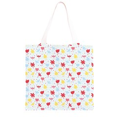 Seamless Colorful Flowers Pattern Grocery Light Tote Bag