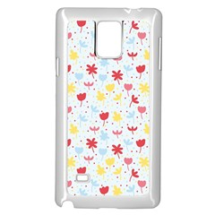 Seamless Colorful Flowers Pattern Samsung Galaxy Note 4 Case (White)